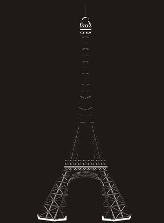 White and black Eiffel tower on a blackground