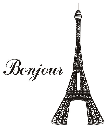 Black and white Eiffel tower with word bonjour