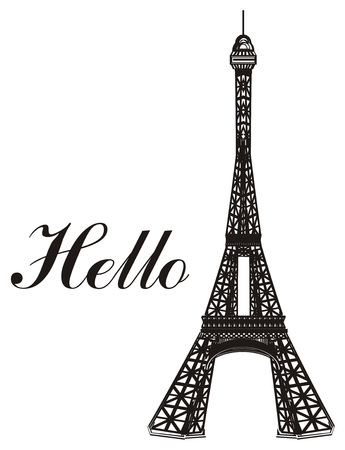 Black and white Eiffel tower with word hello Reklamní fotografie