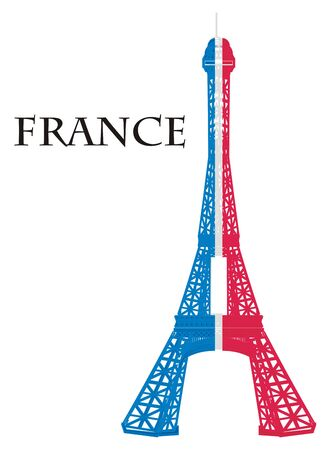 Colored Eiffel tower with black word France