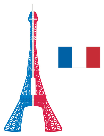 Colored Eiffel tower with flag