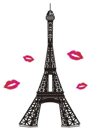 Black and white Eiffel tower with pink kisses Reklamní fotografie