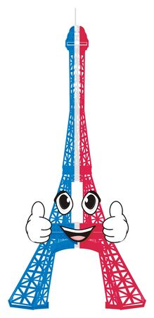 Happy face of colored Eiffel tower
