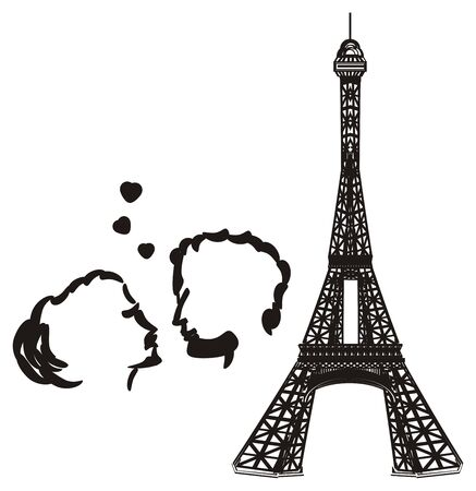Black and white Eiffel tower with black pair in love