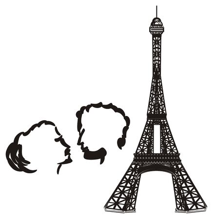 Black and white Eiffel tower with black pair Stock Photo