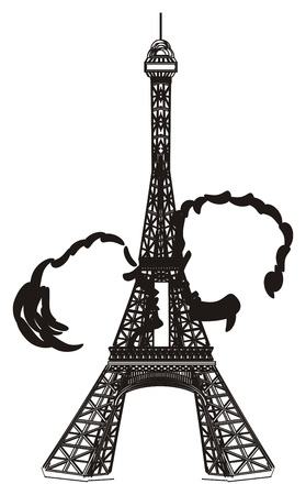 Black and white Eiffel tower with black couple