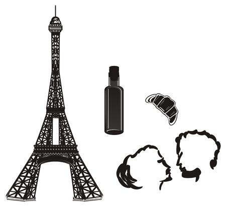 Black and white symbols of France