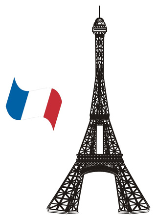 Black and white Eiffel tower with flag
