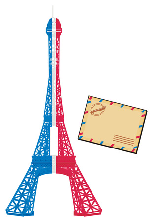 Colored Eiffel tower with envelope
