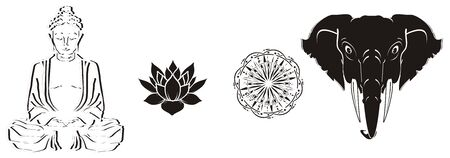 Four black and white symbols of India