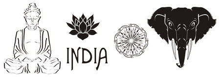 Black and white symbols of India on a white background