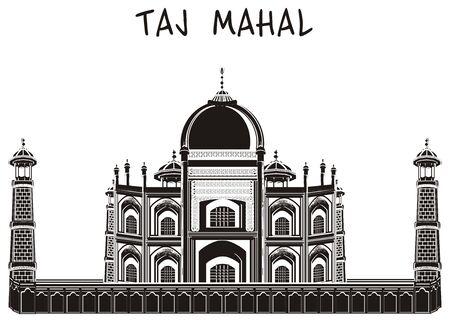 dome of hindu temple: Black and white taj mahal and word Stock Photo