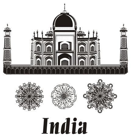 the inscription: Black and white taj mahal with two signs