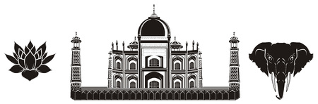 Black and white taj mahal with lotus and elephant
