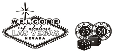 sins: Black and white banner Las Vegas with black dice and chips Stock Photo
