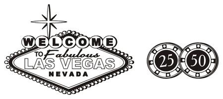 the inscription: Black and white banner Las Vegas black chips Stock Photo