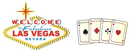 Colored banner Las Vegas with cards