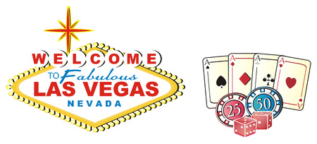Colored banner Las Vegas with three signs of casino