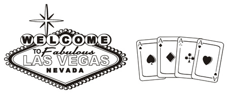 Black and white banner Las Vegas with black cards