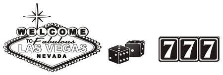 the inscription: Black and white banner Las Vegas with black dice and numbers 777 Stock Photo