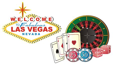 Colored banner of Las Vegas with many symbols of casino Stock Photo