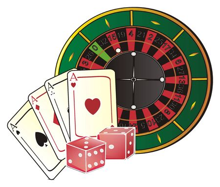 Roulette with colored symbols of casino