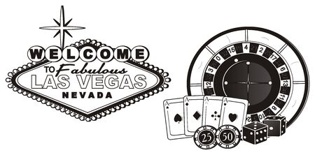 Black and white banner Las Vegas with symbols of it
