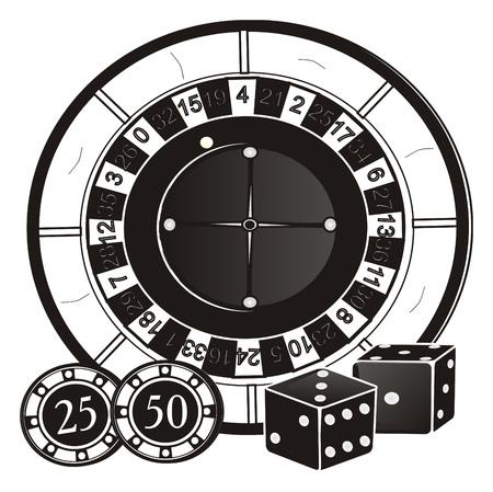 Zwart-witte symbolen van casino adn Las Vegas