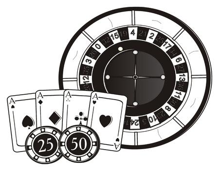 Black and white symbols of casino Stock Photo