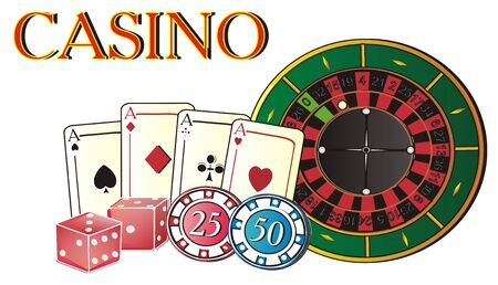 Casino with different symbols of this play Stock Photo