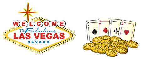 Banner of Las Vegas with coins and cards