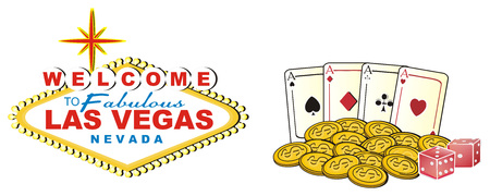 sins: Banner of Las Vegas with colored signs of casino Stock Photo