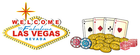 Banner of Las Vegas with colored symbols of casino Stock Photo