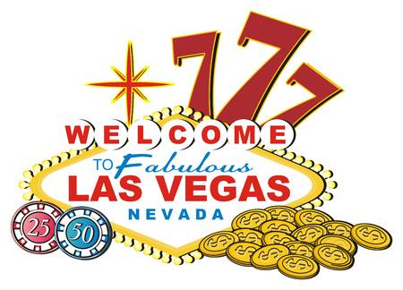 Banner Of Las Vegas With Three Symbols Of Casino Stock Photo