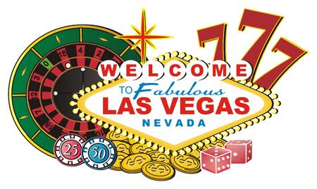 Banner Las Vegas with many symbols of casino