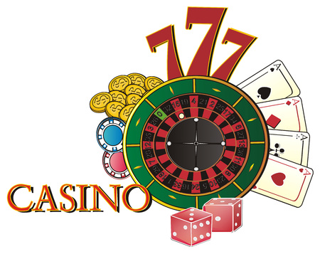 Word casino with colored and many symbols of casino Stock Photo