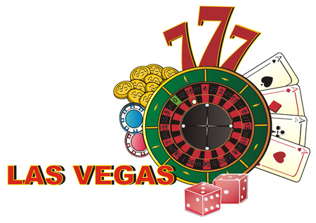 Many symbols of casino with word Las Vegas