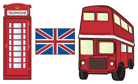 Two red symbols of London with Uk flag Stock Photo