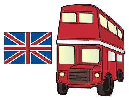 british money: Red British bus with Uk flag Stock Photo