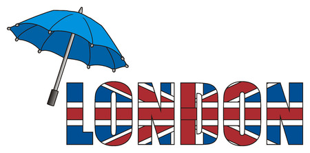 english culture: Blue umbrella with colored word London Stock Photo