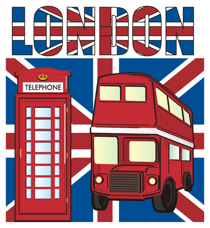 Red telephone booth with red bus on the UK flag with word London
