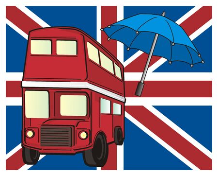 english culture: Red British bus with blue umbrella on the large flag of UK