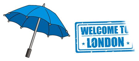 british money: Blue umbrella with blue stamp Stock Photo
