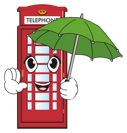 Happy face of red telephone booth hold an umbrella