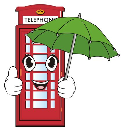 Happy face of red telephone booth with umbrella show gesture