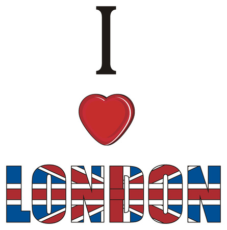 english culture: Colored inscription i love London