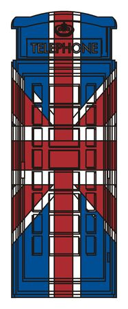 english culture: Telephone booth with Uk flag on it Stock Photo