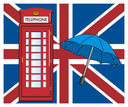 Blue umbrella with red telephone booth on the middle of UK flag
