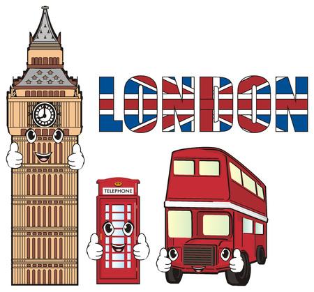 Happy faces of three symbols of London Stock Photo