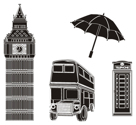 Four not colored symbols of London Stock Photo